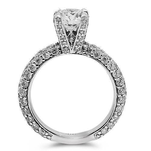 18K Solid White Gold Diamond Engagement Ring 3.25 Ctw