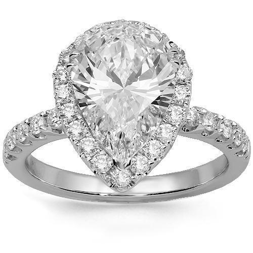 18K Solid White Gold Diamond Engagement Ring 3.40 Ctw