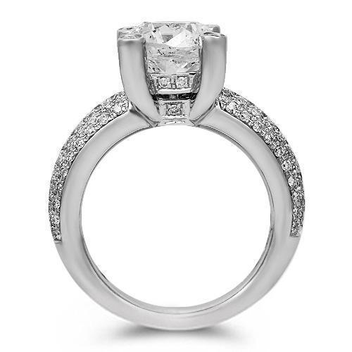18K Solid White Gold Diamond Engagement Ring 4.01 Ctw