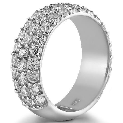 18K Solid White Gold Diamond Wedding Ring Band 3.00 Ctw