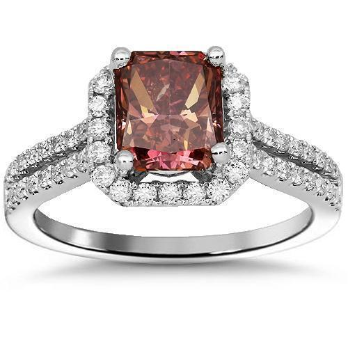 18K Solid White Gold Enhanced Pink Diamond Engagement Ring 2.02 Ctw