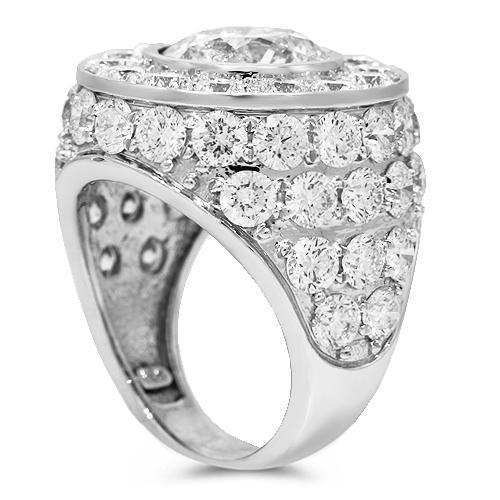 18K Solid White Gold Mens Custom Diamond Ring 22.04 Ctw