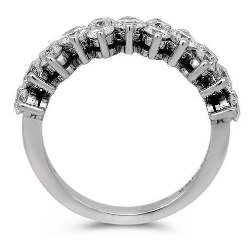 18K Solid White Gold Womens Diamond Wedding Ring Band 1.00 Ctw