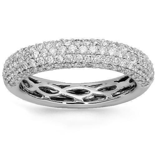 18K Solid White Gold Womens Diamond Wedding Ring Band 1.01 Ctw
