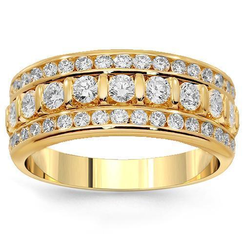 18K Solid Yellow Gold Womens Diamond Wedding Ring Band 1.79 Ctw
