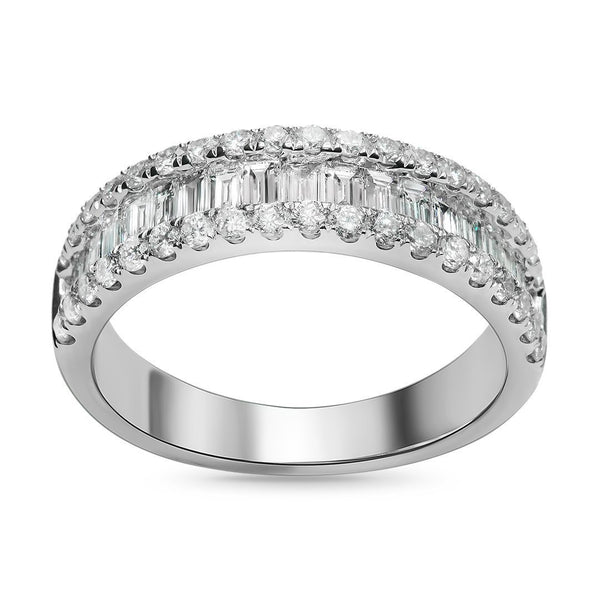 18K White Gold Womens Baguette Diamond Wedding Band 1.15 CTW