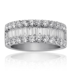18K White Gold Womens Baguette Diamond Wedding Band 3.12 CTW