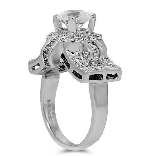 18K White Solid Gold Diamond Bridal Ring Set 2.26 Ctw
