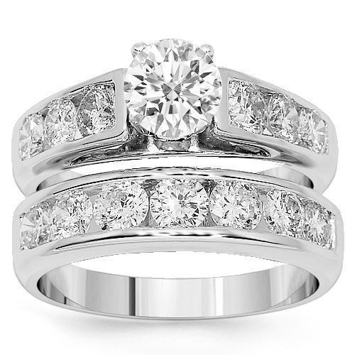 18K White Solid Gold Diamond Bridal Ring Set 2.66 Ctw
