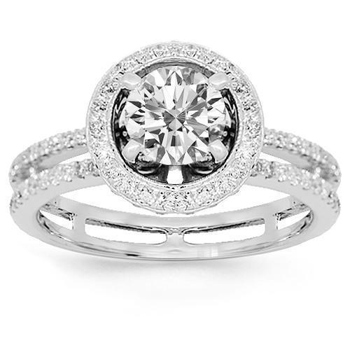 18K White Solid Gold Diamond Engagement Ring 1.25 Ctw