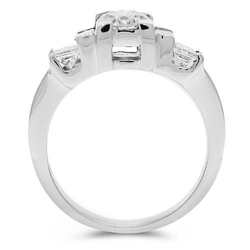 18K White Solid Gold Diamond Engagement Ring 1.30 Ctw