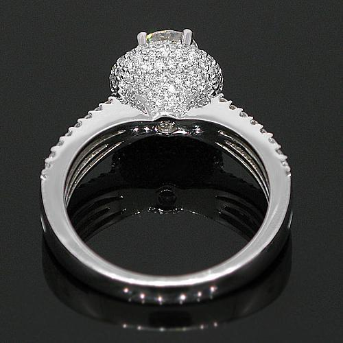 18K White Solid Gold Diamond Engagement Ring 1.43 Ctw