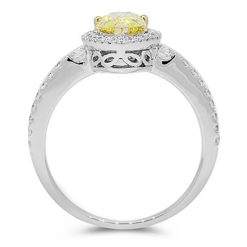 18K White Solid Gold Diamond Engagement Ring 1.60 Ctw