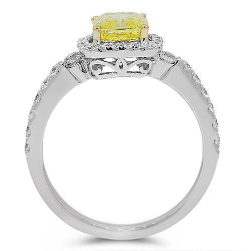 18K White Solid Gold Diamond Engagement Ring 2.14 Ctw