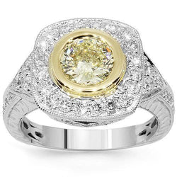 18K White Solid Gold Diamond Engagement Ring 2.48 Ctw