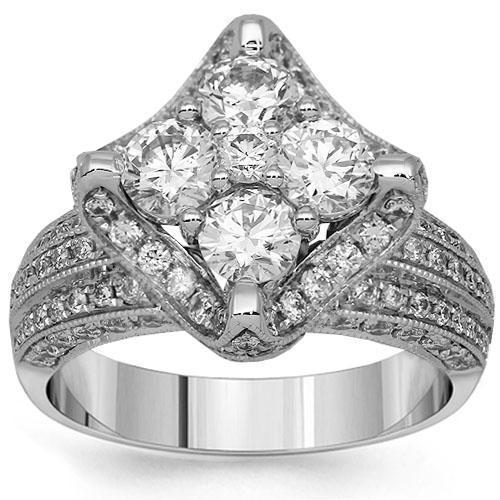 18K White Solid Gold Diamond Engagement Ring 2.88 Ctw