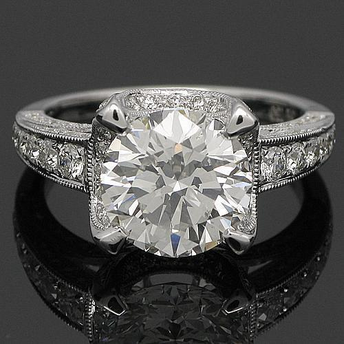 18K White Solid Gold Diamond Engagement Ring 4.12 Ctw