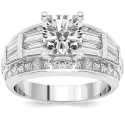 18K White Solid Gold Diamond Engagement Ring 4.26 Ctw