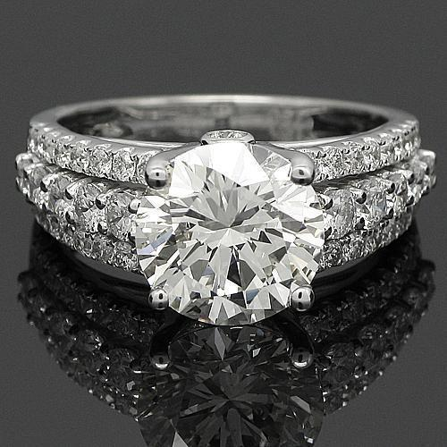 18K White Solid Gold Diamond Engagement Ring 4.53 Ctw