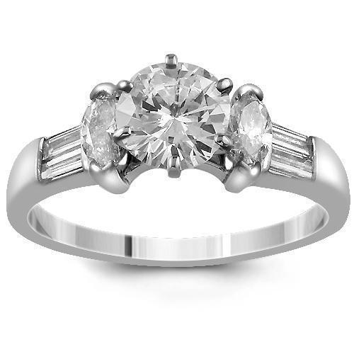 18K White Solid Gold GAI Certified Diamond Engagement Ring 1.86 Ctw