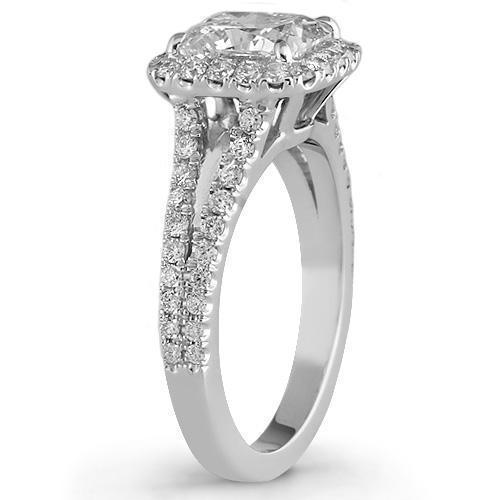 18K White Solid Gold GAI Certified Diamond Engagement Ring 2.77 Ctw