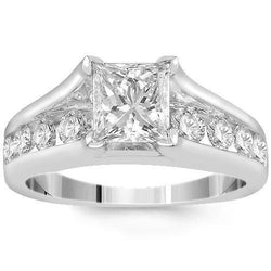 18K White Solid Gold IGI Certified Diamond Engagement Ring 2.01 Ctw