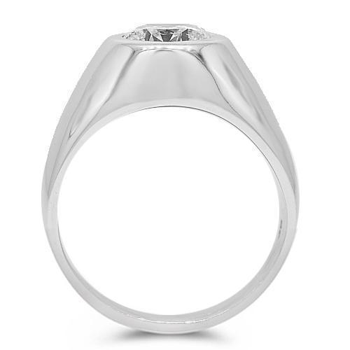 18K White Solid Gold Mens Clarity Enhanced Diamond Solitaire Pinky Ring 2.14 Ctw