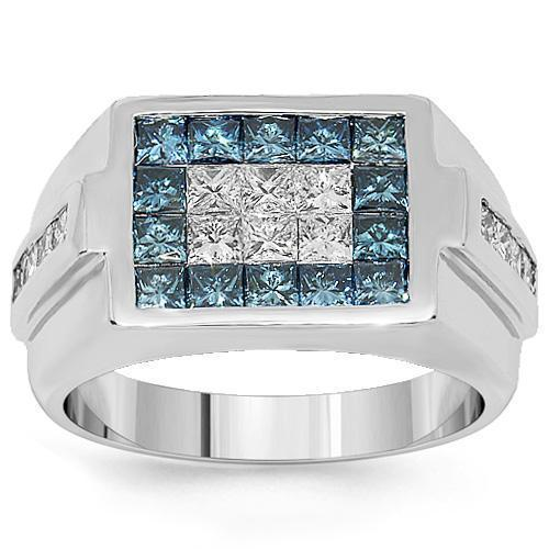 18K White Solid Gold Mens Diamond Pinky Ring with Blue Diamonds 2.75 Ctw