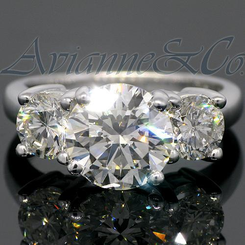18K White Solid Gold Three Stone Diamond Engagement Ring 4.52 Ctw