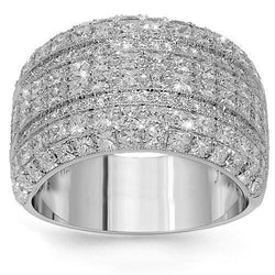 18K White Solid Gold Womens Diamond Cocktail Ring 2.67 Ctw