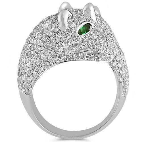 18K White Solid Gold Womens Diamond Emerald Tiger Animal Ring  4.80 Ctw