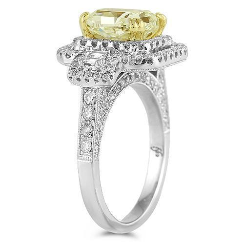18K White Solid Gold Womens Diamond Gorgeous Engagement Ring With EGL Certified Center Stone 4.52 Ctw