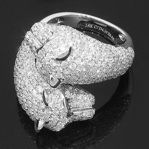 18K White Solid Gold Womens Diamond Panther Ring 4.16 Ctw