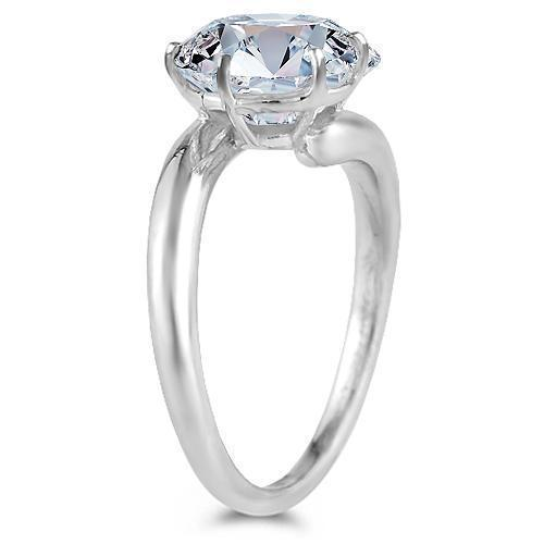 18K White Solid Gold Womens GIA Certified Diamond Solitaire Ring 2.39 Ctw