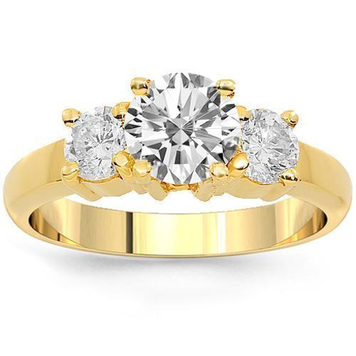 18K Yellow Solid Gold Clarity Enhanced  Diamond Three Stone Engagement Ring 1.72 Ctw