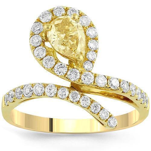 18K Yellow Solid Gold Womens Diamond Petite Pave Ring With Yellow Center Diamond 1.42 Ctw