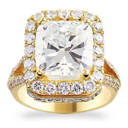 18K Yellow Solid Gold Womens Diamond Split Shank Double Halo Engagement Ring 5.63 Ctw