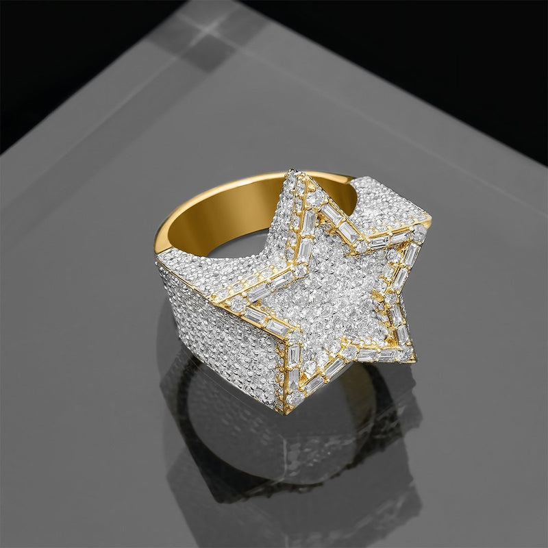 Baguette Star Ring in 14k Yellow Gold 7.04 Ctw