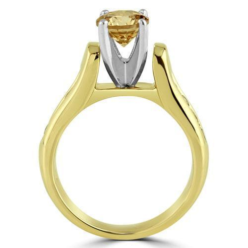 Champagne Diamond Engagement Ring With Side Stones 1.15 Ctw in 14K Yellow Solid Gold