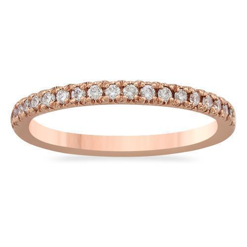 Rose Classic Diamond Wedding Band in 14k Rose Gold 0.25 Ctw