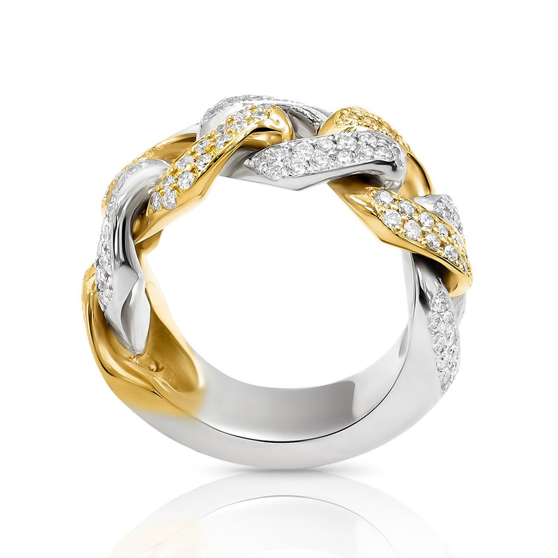 Cuban Ring in 14k Two Tone Gold 2.5 Ctw