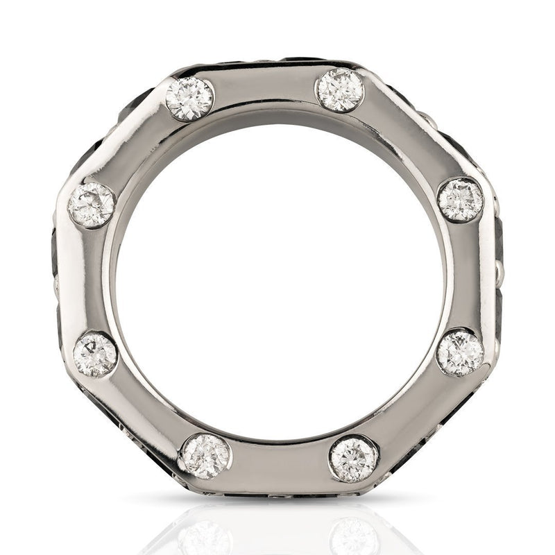 Diamond 14k White Gold Black Diamond Octagon Ring 6.50 Ctw