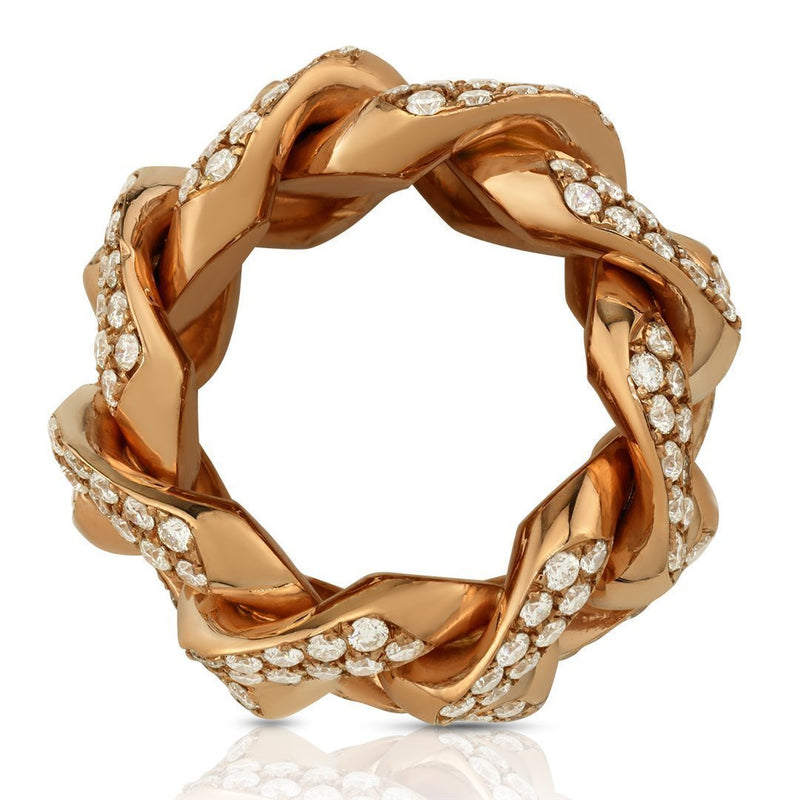 Diamond Cuban Link Ring in 14k Rose Gold 4.50 Ctw