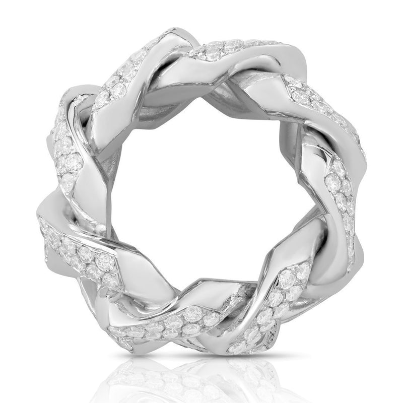 Diamond Cuban Link Ring in 14k White Gold 4.50 Ctw