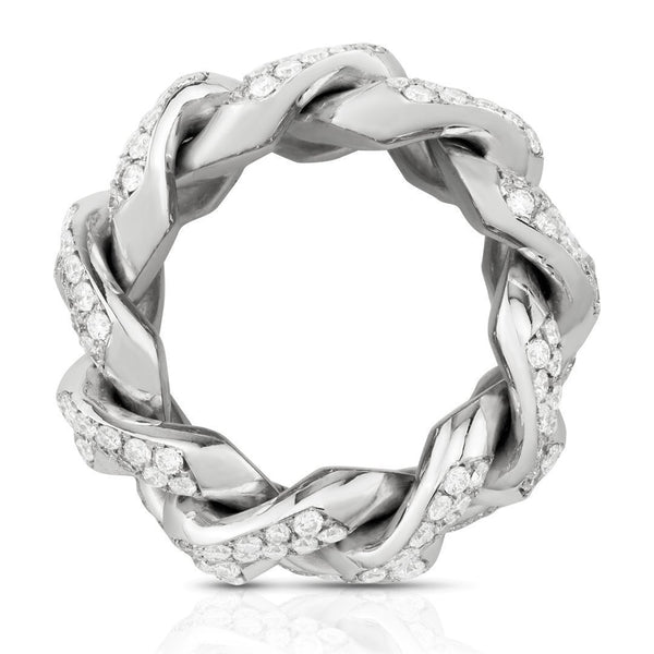 Diamond Cuban Link Ring in 14k White Gold 5 Ctw