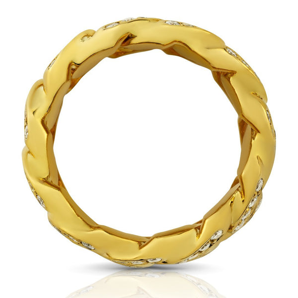 Diamond Cuban Link Ring in 14k Yellow Gold 1.75 Ctw
