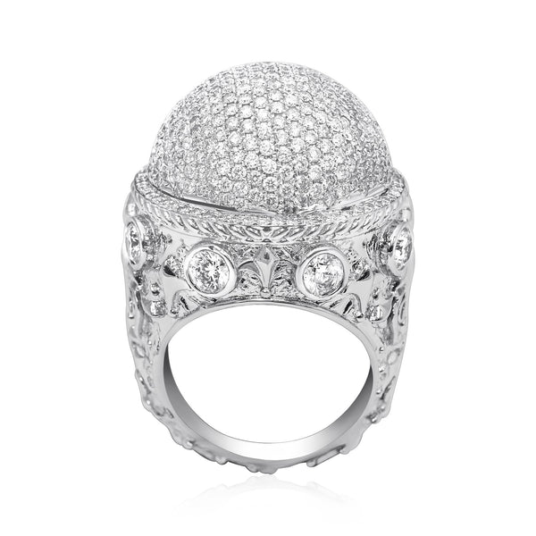 Diamond Dome Pinky Ring in 14k White Gold 7.39 Ctw