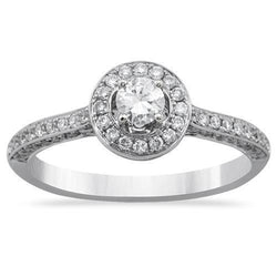 Diamond Engagement Ring in 18k White Gold 0.76 Ctw