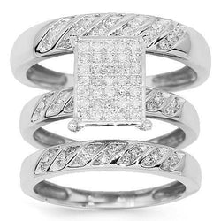 Diamond Engagement Ring Set in 10K White Solid Gold 0.55 Ctw