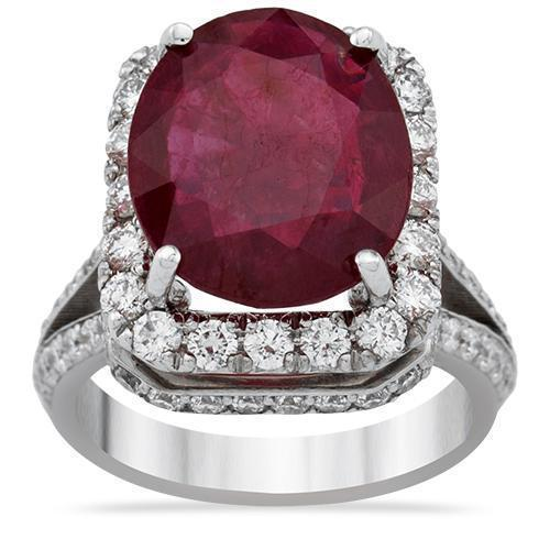 Diamond Large Ruby Ring in 18k White Gold 8.6 Ctw